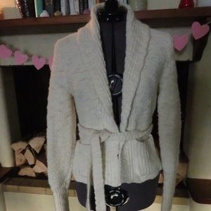 The Limited Cream Tie Sweater w/ Pockets (Small)
